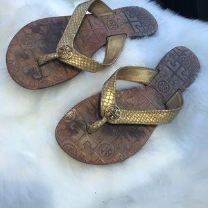 Tory Burch gold sandals 7